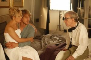 Rachel McAdams, Owen Wilson a Woody Allen při natáčení filmu <b>Půlnoc v Paříži</b>
