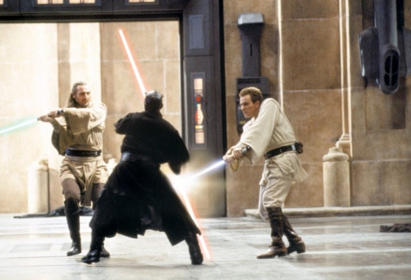 Liam Neeson, Ray Park, Ewan McGregor ve filmu Star Wars: Epizoda I - Skrytá hrozba / Star Wars: Episode I - The Phantom Menace