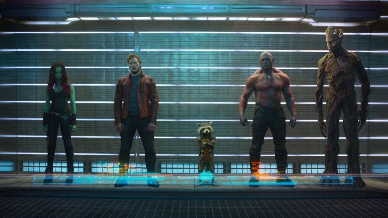 Bradley Cooper, Chris Pratt, Zoe Saldana, Dave Bautista, Vin Diesel ve filmu Strážci Galaxie / Guardians of the Galaxy