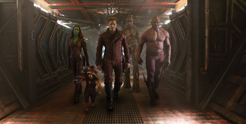 Bradley Cooper, Vin Diesel, Zoe Saldana, Dave Bautista, Chris Pratt ve filmu Strážci Galaxie / Guardians of the Galaxy