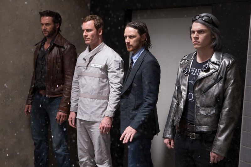 Hugh Jackman, Michael Fassbender, James McAvoy, Evan Peters ve filmu X-Men: Budoucí minulost / X-Men: Days of Future Past