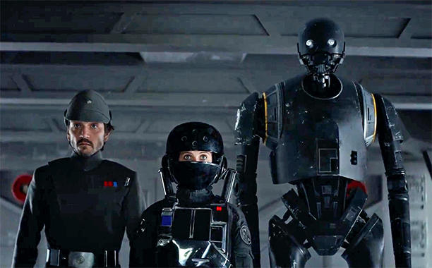 Diego Luna, Felicity Jones, Alan Tudyk ve filmu Rogue One: Star Wars Story / Rogue One