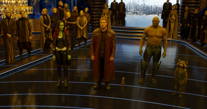 Zoe Saldana, Chris Pratt, Dave Bautista ve filmu Strážci Galaxie Vol. 2 / Guardians of the Galaxy Vol. 2