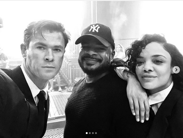Tessa Thompson, Chris Hemsworth, F. Gary Gray při natáčení filmu  / Men in Black International