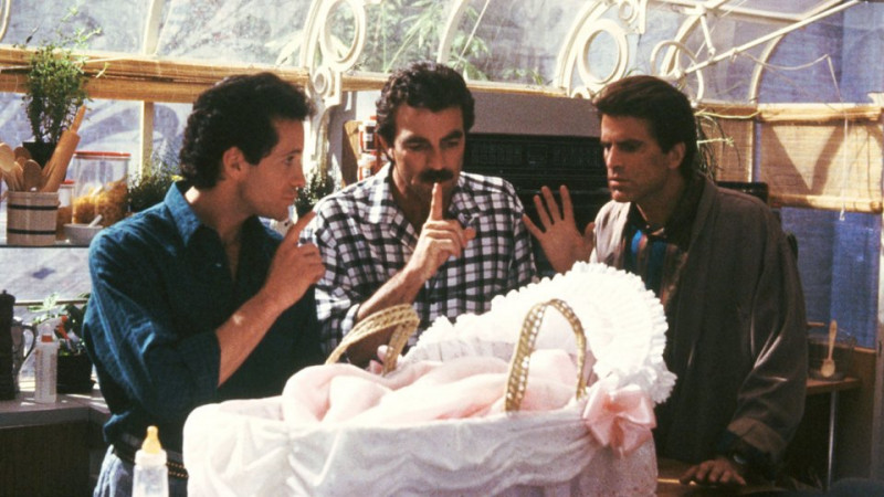 Tom Selleck, Steve Guttenberg, Ted Danson ve filmu Tři muži a nemluvně / 3 Men and a Baby
